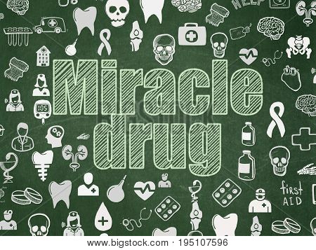 Health concept: Chalk Green text Miracle Drug on School board background with  Hand Drawn Medicine Icons, School Board