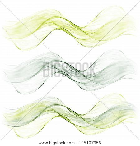 Set abstract color wave. Color smoke wave. Transparent wave. Abstract smooth wave.Smoke green wave.