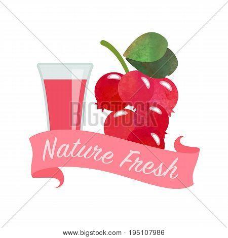 Colorful Watercolor Texture Vector Nature Organic Fresh Fruit Juice Banner Cowberry Lingoberry