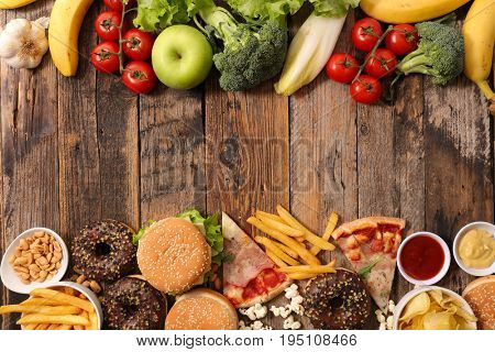 junk food or health food concept