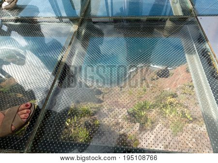 The Cabo Girao Skywalk - the highest cliff skywalk in Europe located on top of the cabo Girao Cliff on Madeira Island. Portugal