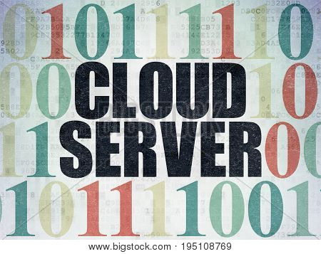Cloud networking concept: Painted black text Cloud Server on Digital Data Paper background with Binary Code