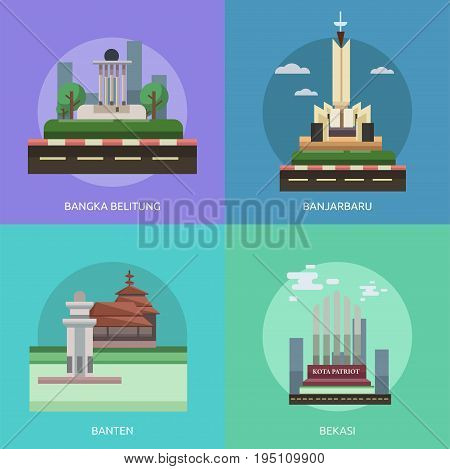 City of Indonesia Conceptual Design | Set of great flat design illustration concepts for city, indonesian, travel and much more.