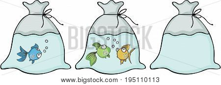 Scalable vectorial image representing a different kind of fish in the bags, isolated on white.
