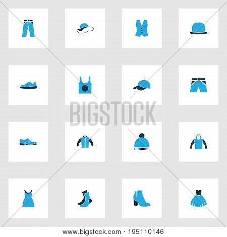 Clothes Colorful Icons Set. Collection Of Trousers, Female Boots, Underwear And Other Elements. Also Includes Symbols Such As Footwear, Sox, Windbreaker.