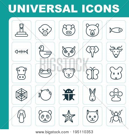 Zoology Icons Set. Collection Of Rat, Moth, Beetle And Other Elements. Also Includes Symbols Such As Piglet, Elephant, Deer.