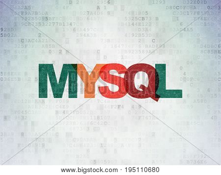 Database concept: Painted multicolor text MySQL on Digital Data Paper background