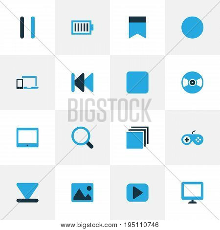 Music Colorful Icons Set. Collection Of Devices, Flag, Pause And Other Elements. Also Includes Symbols Such As Bookmark, Backward, Palmtop.