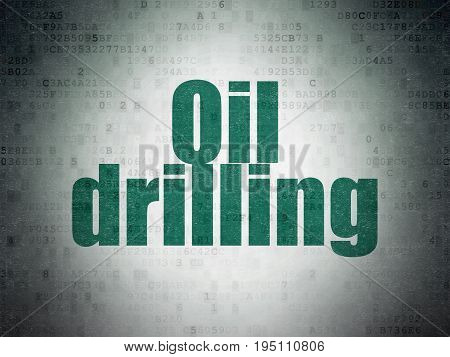 Industry concept: Painted green word Oil Drilling on Digital Data Paper background