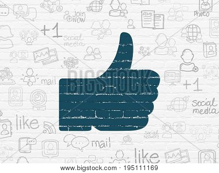Social media concept: Painted blue Thumb Up icon on White Brick wall background with  Hand Drawn Social Network Icons