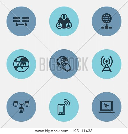 Vector Illustration Set Of Simple Browser Icons. Elements Data Center, Server Relationship, Internet And Other Synonyms Data, Signal And Server.