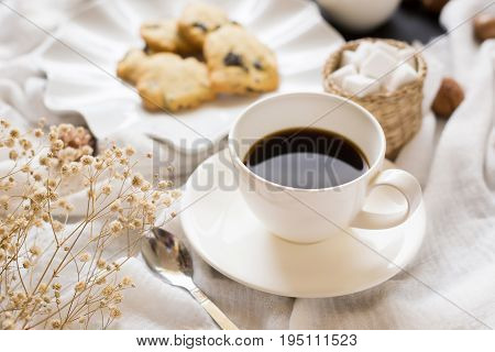 Coffee Time Break Cafe And Chocolate Chip Cookies Leisure Relaxation