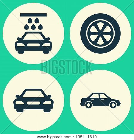 Automobile Icons Set. Collection Of Automobile, Auto, Wheel And Other Elements. Also Includes Symbols Such As Wheel, Water, Auto.