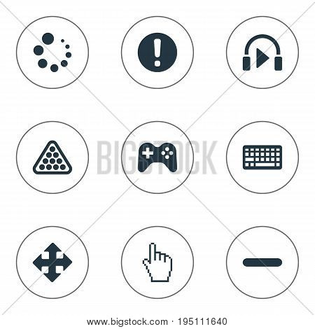Vector Illustration Set Of Simple Leisure Icons. Elements Sound, Preloader, Keyboard And Other Synonyms Controller, Cue And Warning.