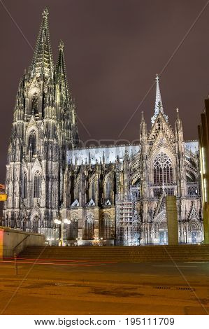 Cologne Cathedral (officially High Cathedral of Saint Peter) is a Roman Catholic cathedral in Cologne Germany. It is Germany's most visited landmark and currently the tallest twin-spired church at 157 m (515 ft) tall