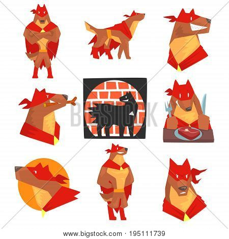 Dog superhero character in action set, dog in different poses with red cape vector Illustrations isolated on a white background