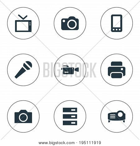 Vector Illustration Set Of Simple Gadget Icons. Elements Show, Photocopier, Movie And Other Synonyms Karaoke, Display And Interface.