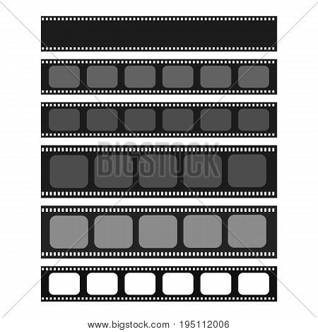 Cinema and photography 35 mm strip template set for your text or image. Monochrome film and photo tapes collection for design banners text. Cinematography vector elements