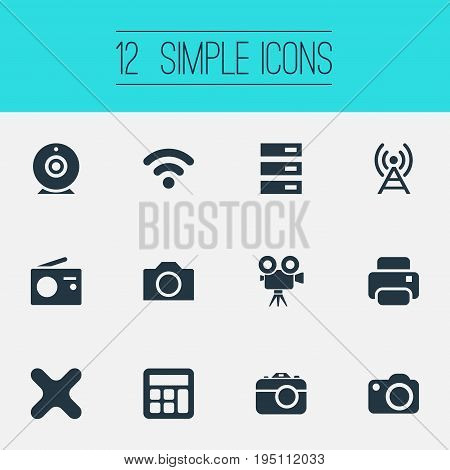 Vector Illustration Set Of Simple Technology Icons. Elements Recording, Camcorder, Remove And Other Synonyms Remove, Tuner And Photocopier.