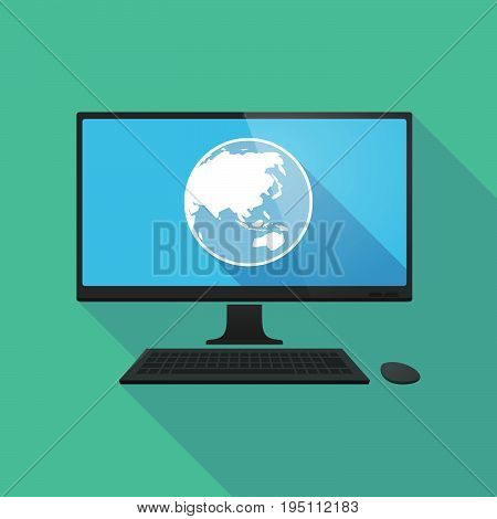 Long Shadow Computer With  An Asia Pacific World Globe Map