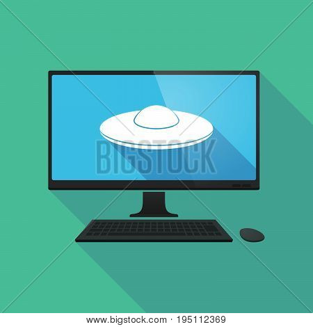 Long Shadow Computer With  A Flying Saucer Ufo