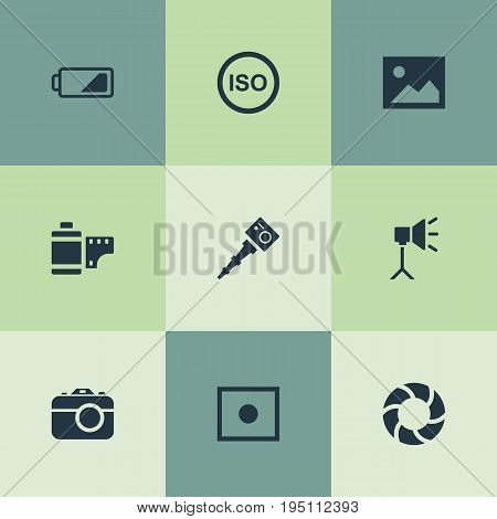 Vector Illustration Set Of Simple Photographic Icons. Elements Photograph, Energy, Registration And Other Synonyms Image, Removable And Lens.