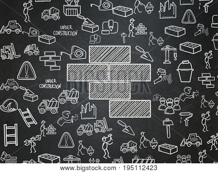 Building construction concept: Chalk White Bricks icon on School board background with  Hand Drawn Construction Icons, School Board