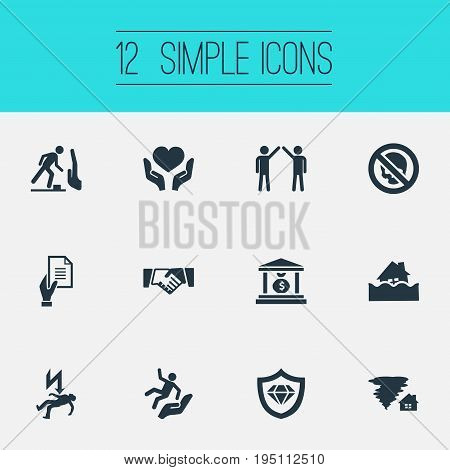 Vector Illustration Set Of Simple Fuse Icons. Elements Stumbling Warning, Slide Down, Agreement And Other Synonyms Skull, Money And Protect.