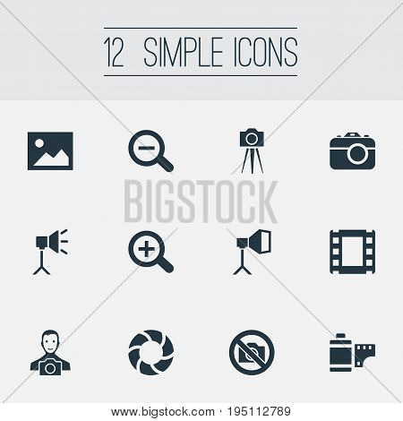 Vector Illustration Set Of Simple Photography Icons. Elements Photo Tape, Magnifying, Film Strip And Other Synonyms Augment, Tape And Instrument.