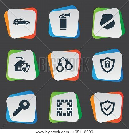 Vector Illustration Set Of Simple Secure Icons. Elements Penitentiary, Handcuff, Extinguisher Synonyms Extinguisher, Handcuffs And Locked.