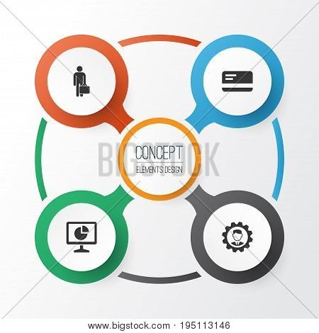 Business Icons Set. Collection Of Leader, Statistics, Work Man And Other Elements. Also Includes Symbols Such As Bank, Statistic, Monitor.