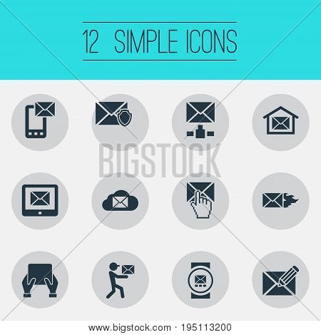 Vector Illustration Set Of Simple Communication Icons. Elements Postal Box, Mailman, Notice And Other Synonyms Email, Postal Box And Address.