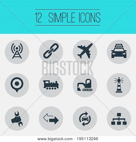 Vector Illustration Set Of Simple Public Icons. Elements Map Pin, Retro Locomotive, Relation And Other Synonyms Nautical, Directions And Bulldozer.