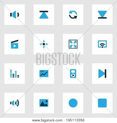 Multimedia Colorful Icons Set. Collection Of Signal, Picture, Synchronize And Other Elements. Also Includes Symbols Such As Chart, Stop, Sync.