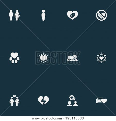 Vector Illustration Set Of Simple Valentine Icons. Elements Footprint, Lesbian, Beloveds And Other Synonyms Man, Animal And Partner.