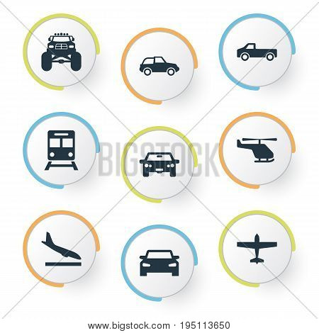 Vector Illustration Set Of Simple Transport Icons. Elements Jeep, Small Automobile, Auto And Other Synonyms Convertible,  And Metro.