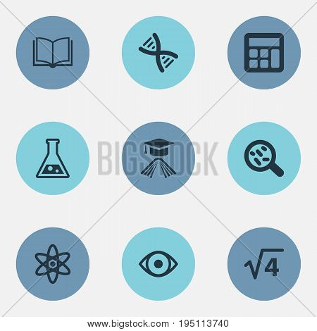 Vector Illustration Set Of Simple Knowledge Icons. Elements Knowledge, Book, Reckoning And Other Synonyms Substance, Mathematics And Helix.