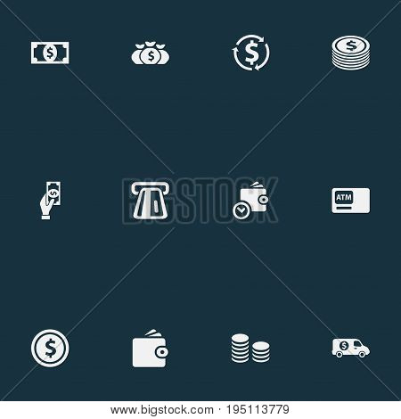 Vector Illustration Set Of Simple Currency Icons. Elements Economy, Investing, Purse And Other Synonyms Banknote, Full And Truck.