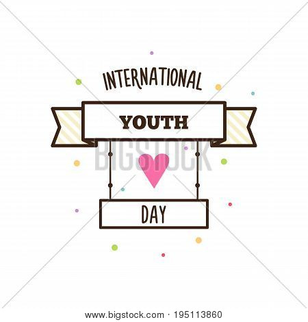 International youth day. Vector illustration. Banner with text