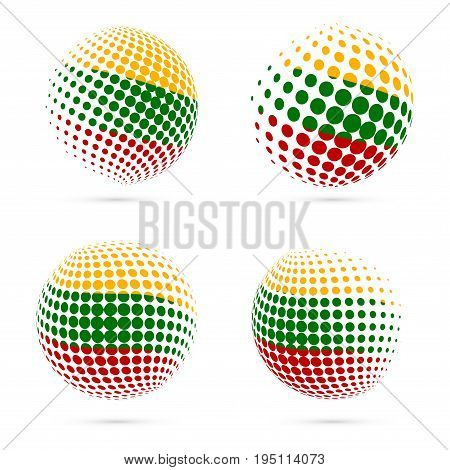 Lithuania Halftone Flag Set Patriotic Vector Design. 3D Halftone Sphere In Lithuania National Flag C