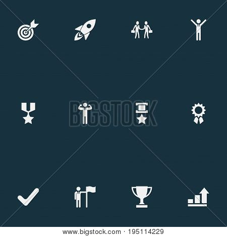 Vector Illustration Set Of Simple Champion Icons. Elements Victory, Correct Sign, Hero And Other Synonyms First, Handshake And Sign.