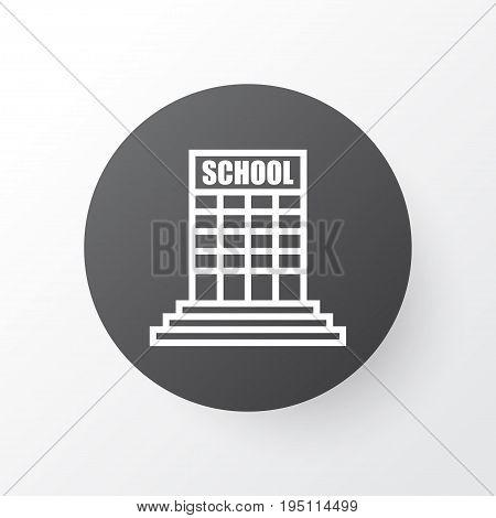 School Building Icon Symbol. Premium Quality Isolated Academy  Element In Trendy Style.