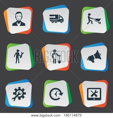 Vector Illustration Set Of Simple Service Icons. Elements Farmer With Shovel, Vehicle Mend, Period And Other Synonyms Transportation, Specialist And Interval.