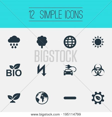 Vector Illustration Set Of Simple Green Icons. Elements Forest, Biological Engineering, Thunderbolt And Other Synonyms Food, Peril And Plant.