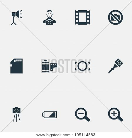 Vector Illustration Set Of Simple Photographer Icons. Elements Magnifying, Rim, Photo Tape And Other Synonyms Cameraperson, Frame And Zoom.