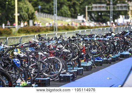 Szczecin Poland July 9 2017: Triathlon Szczecin many bicycles on a start.