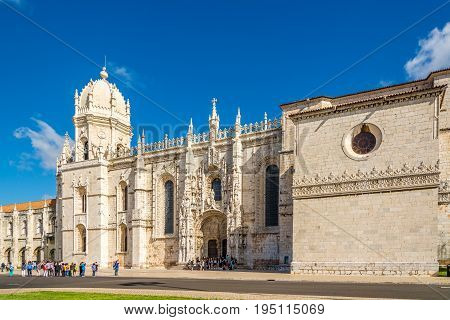 LISBON,PORTUGAL - MAY 18,2017 - View at the church of Santa Maria near Monastery of Jeronimos in Lisbon. Lisbon is the capital of Portugal.