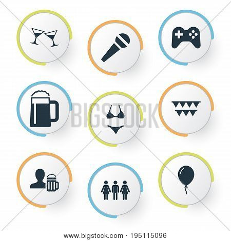 Vector Illustration Set Of Simple Banquet Icons. Elements Wineglasses, Guest, Decor And Other Synonyms Microphone, Guest And Flags.