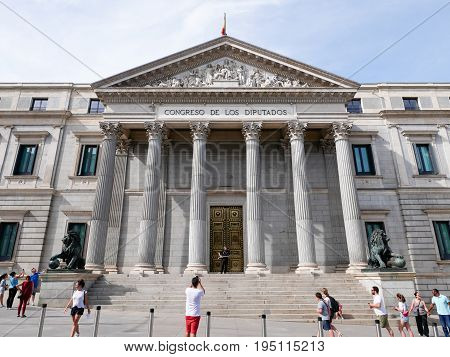 Madrid - June 9: Tourists Take A Photograph Of Congress Of Deputies Building On June 9, 2017 In Madr