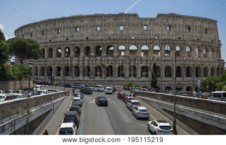 View of Colosseum on a sunny day. Rome Italy. June 2017